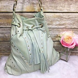 Bulga Light Pastel Green Leather Hobo Purse Bag
